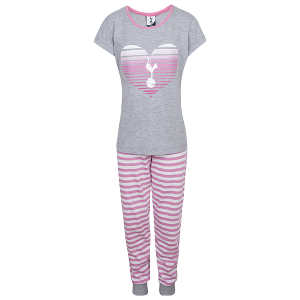 Spurs Girls Striped Heart Cuffed PJ Set