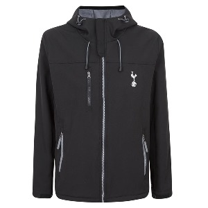 Spurs Mens Black Soft Shell Hooded Jacket