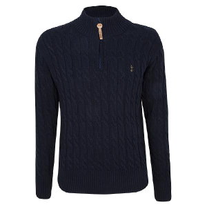 Spurs Mens 1/4 Zip Cable Knitted Jumper