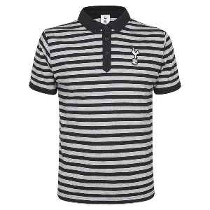 Spurs Mens Black Marl Solid Stripe Polo